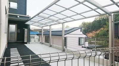 駐輪スペースは広め、屋根付きの駐輪場です